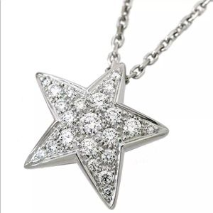 Sold_Auth CHANEL Comete Diamond Star Gold Necklace